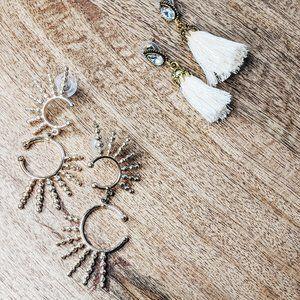 Sun spay and tassel earrings
